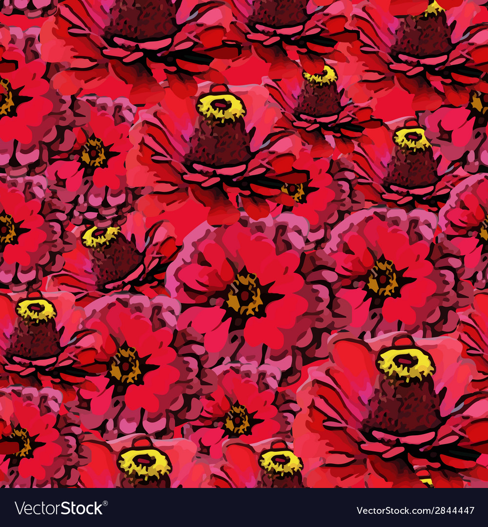 Seamless colorful pattern with red flowers