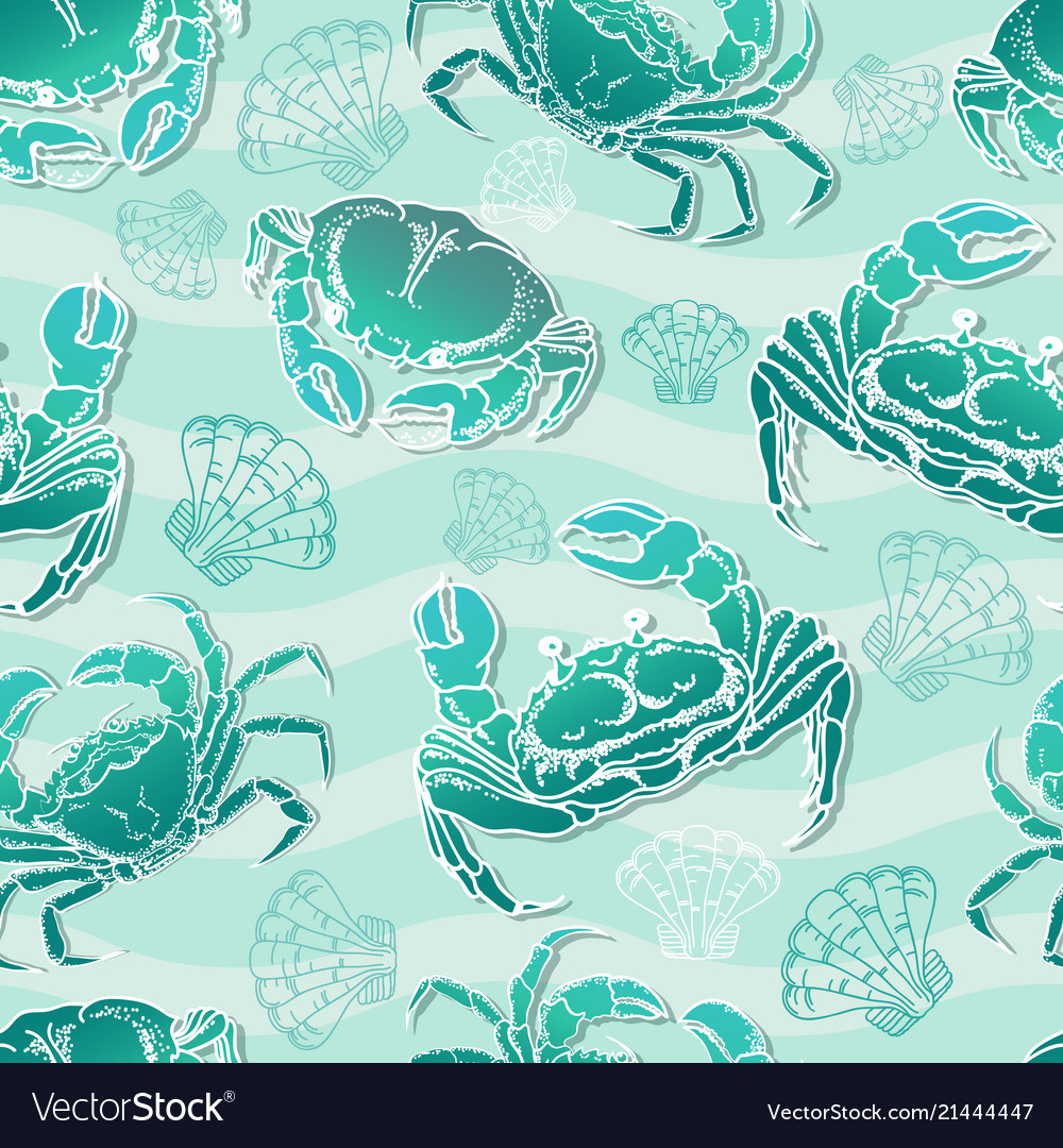 Seamless pattern with crabs and shell