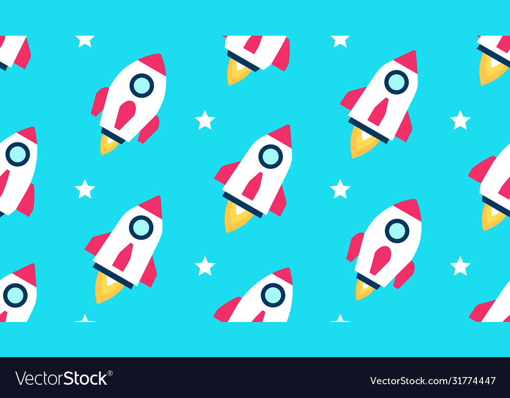 Seamless pattern with rockets and stars