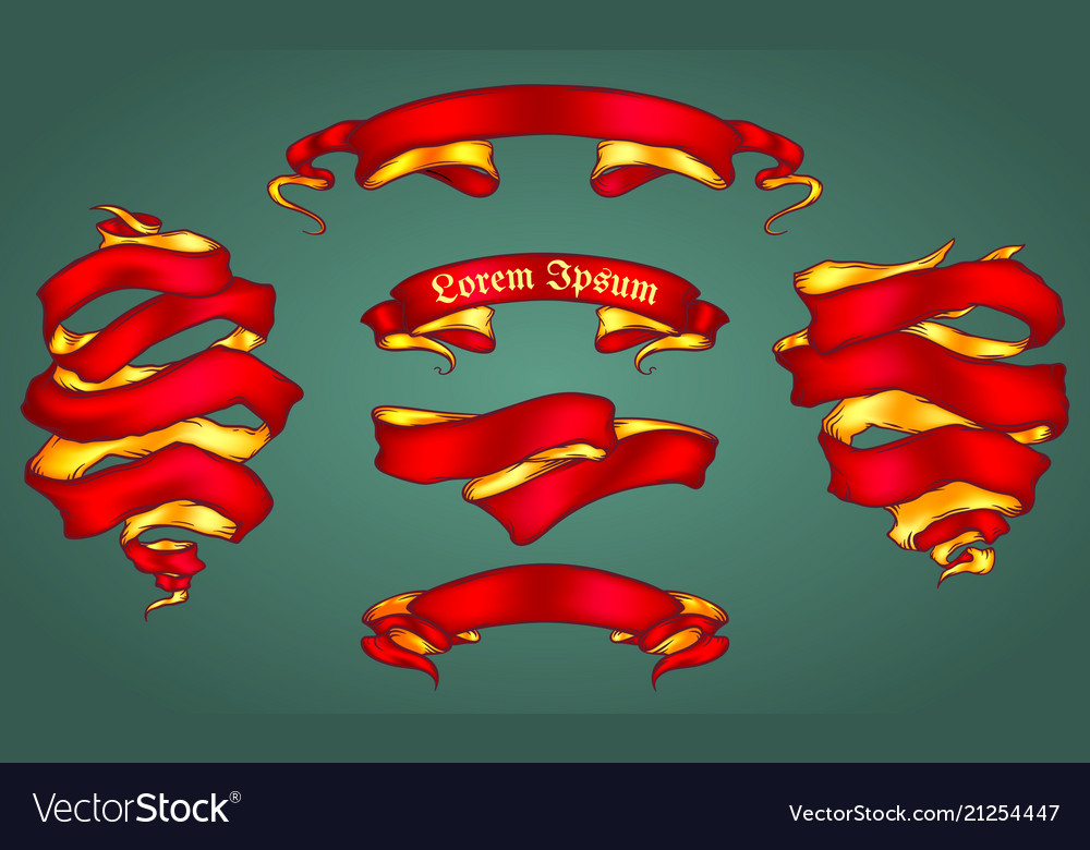Set of the shiny ribbons vector image