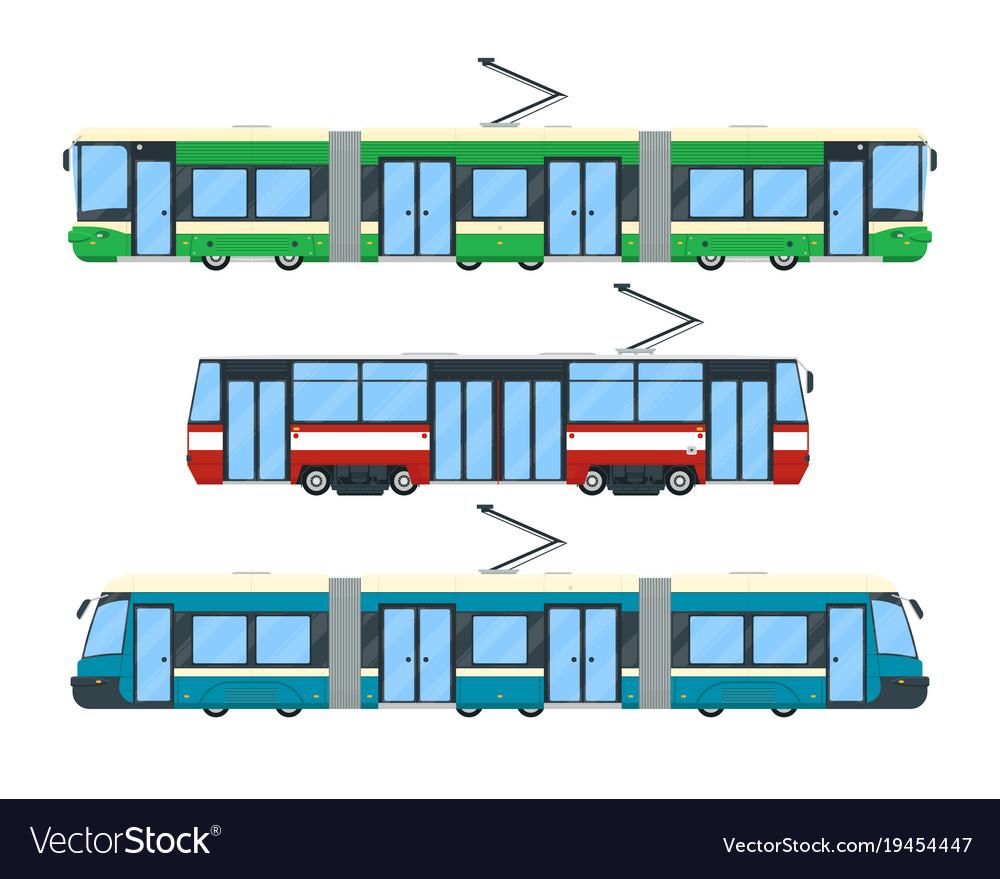 Set of tram vector image