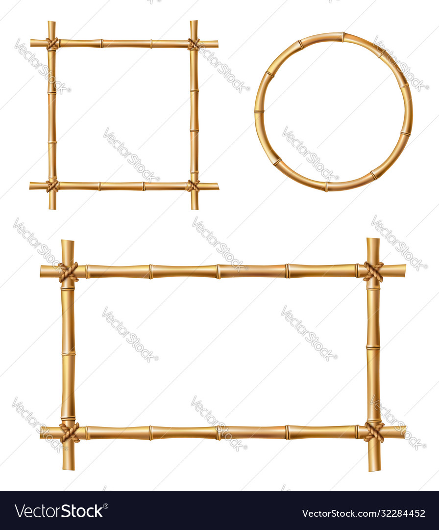 Bamboo frames isolated wooden borders set