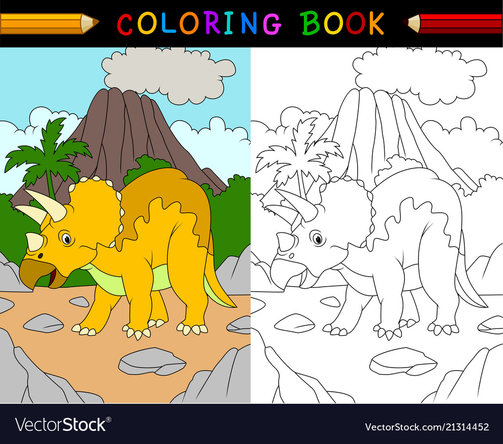 Cartoon triceratops coloring book
