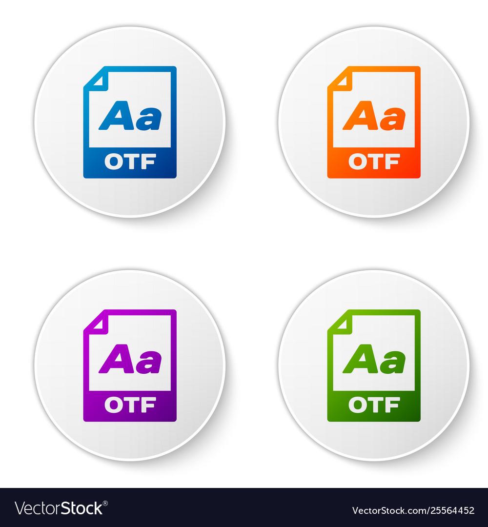 Color otf file document icon download otf button