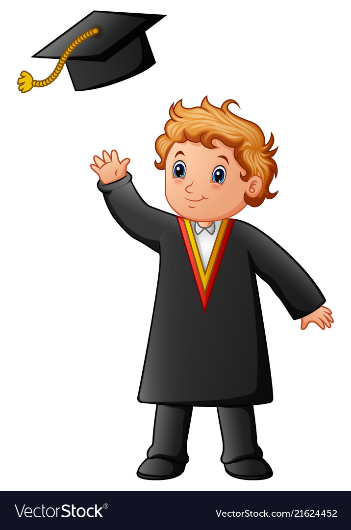 Happy boy in black graduation gown Royalty Free Vector Image