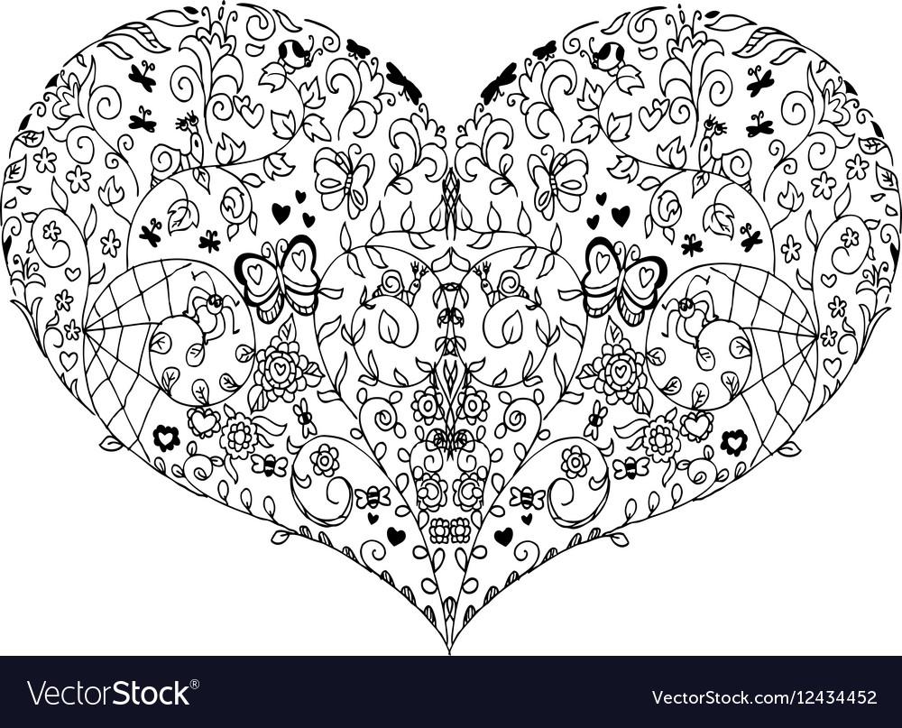 heart mandala doodle royalty free vector image