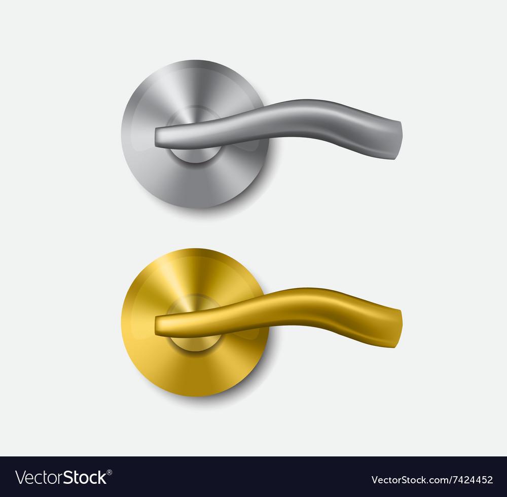 Metal and gold door handle