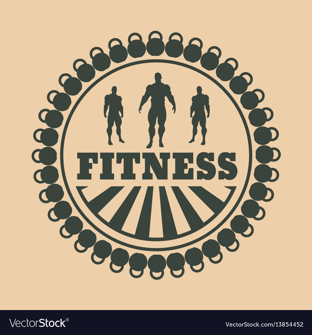 Muscular man posing bodybuilding coat of arms