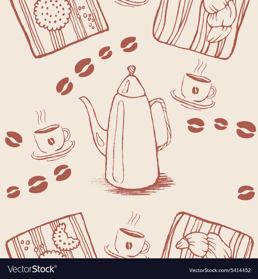 Seamless background pattern with coffee beans and