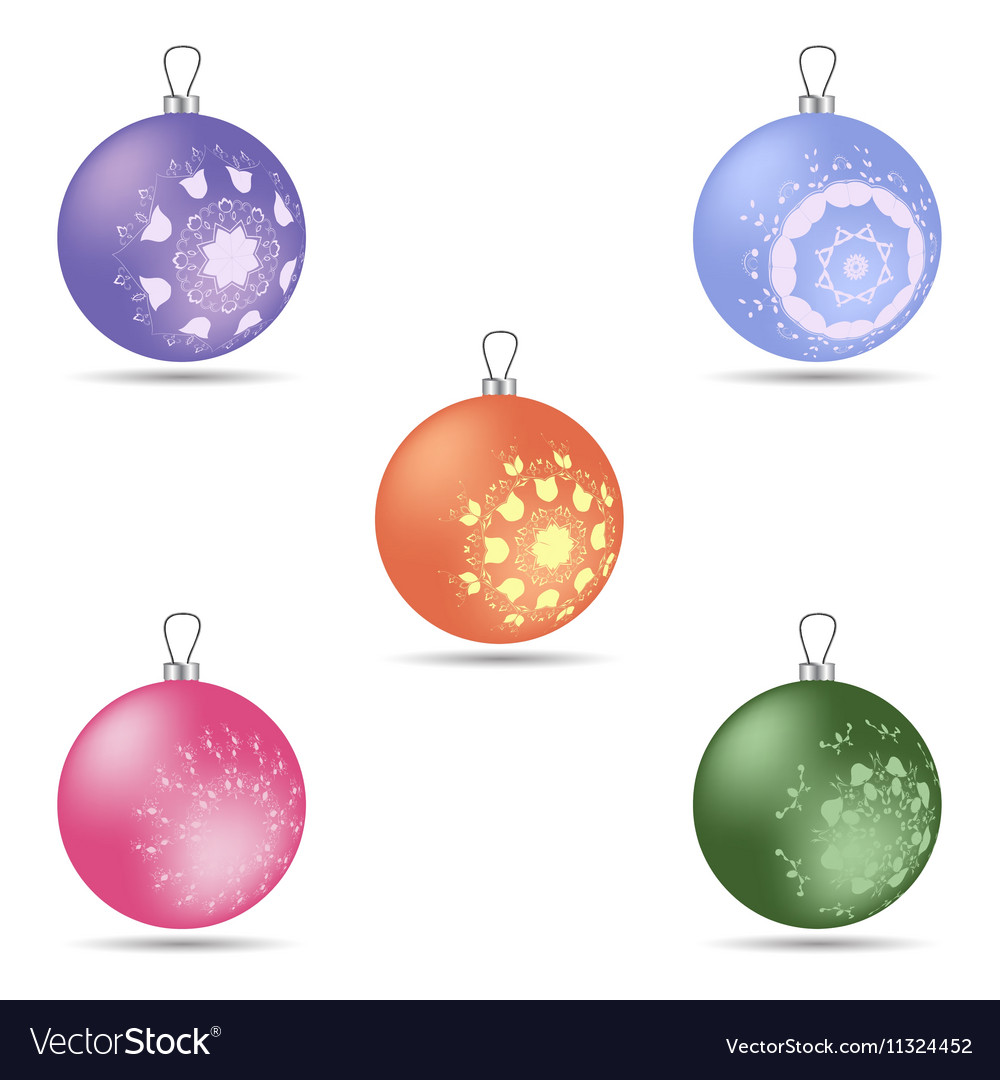 Set of five colorful Christmas balls of different