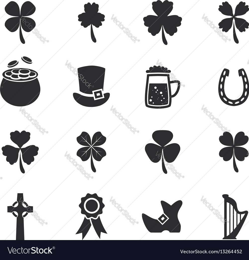 Set of flat irish st patricks day icons
