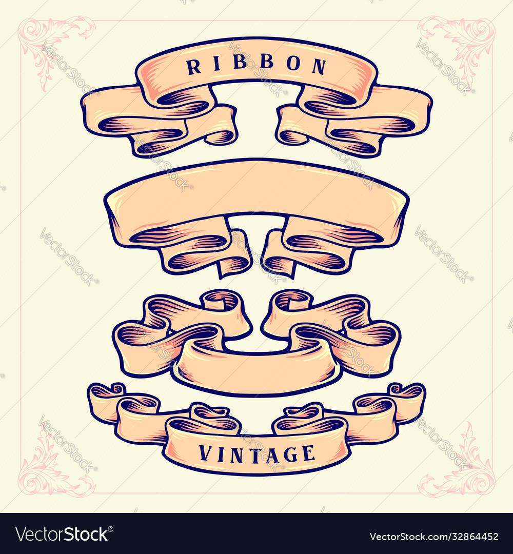 Set ribbon retro vintage style