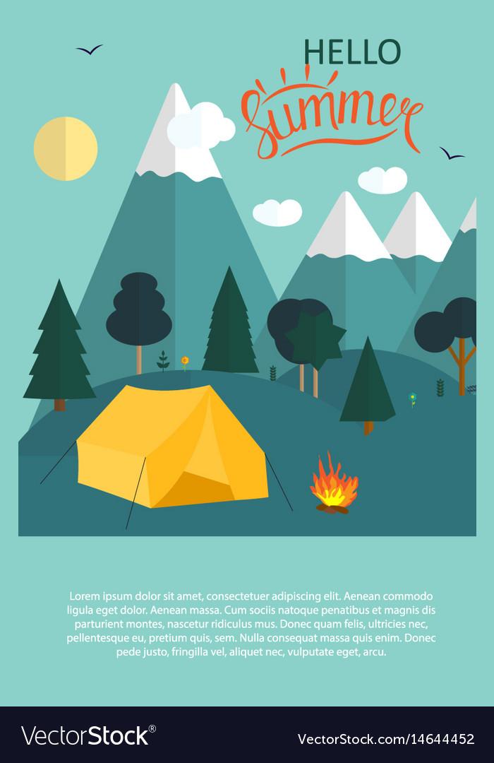 Summer camping nature background in modern flat