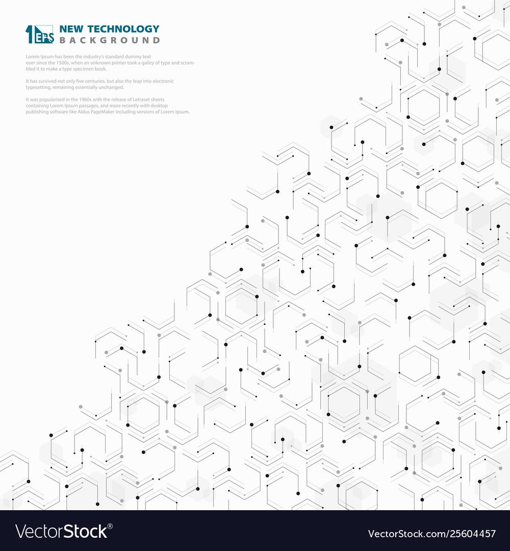 Abstract Hexagonal Geometric Technology Pattern