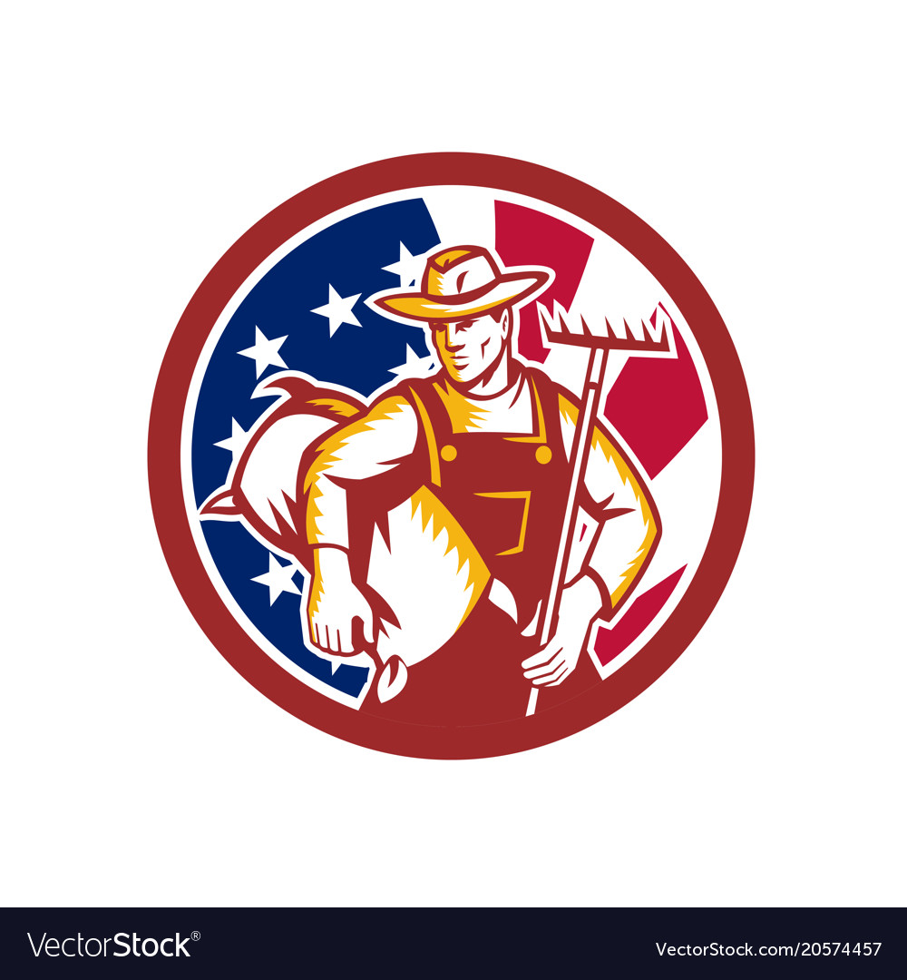American organic farmer usa flag icon