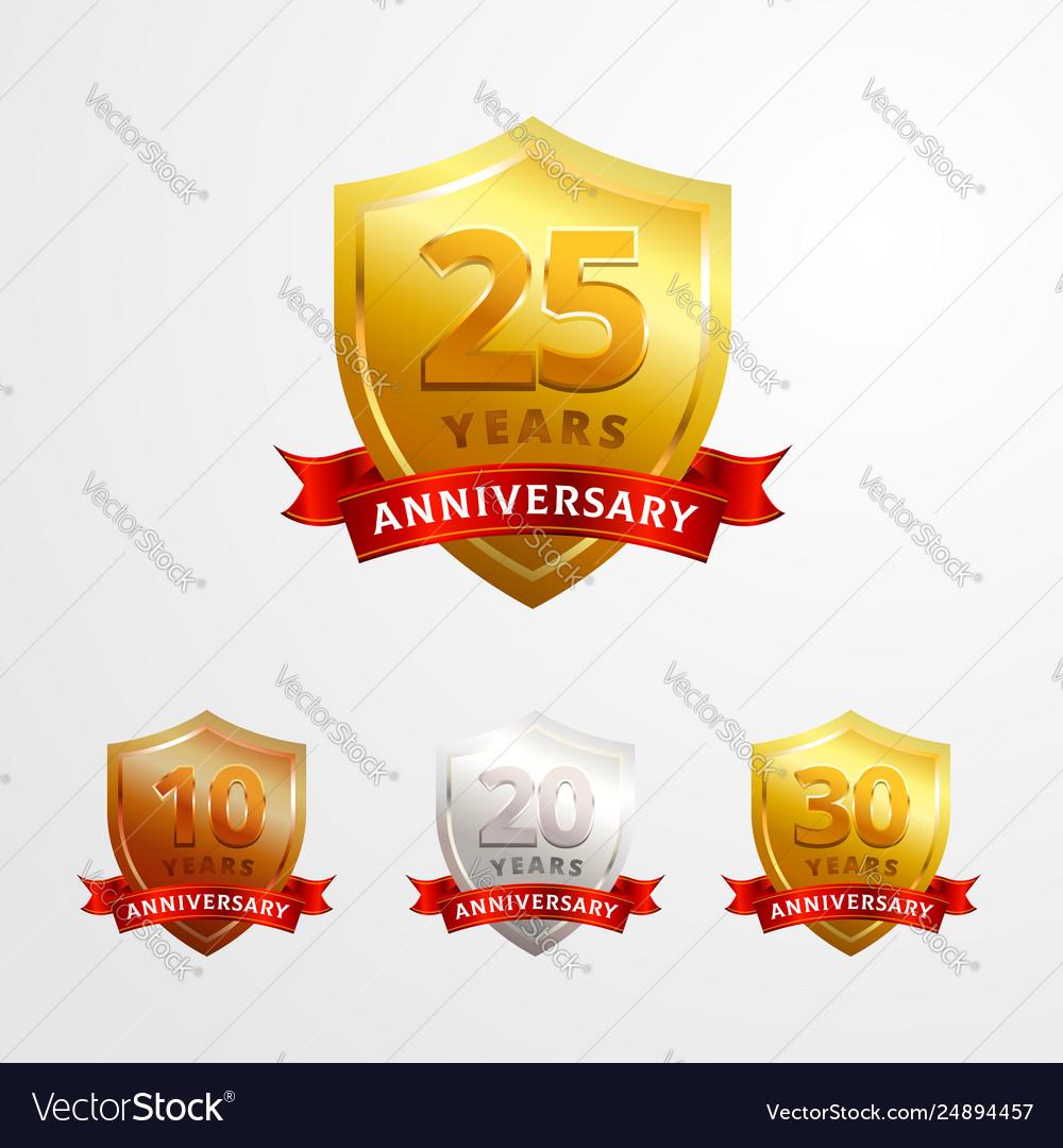 Anniversary logo badge design set shinny