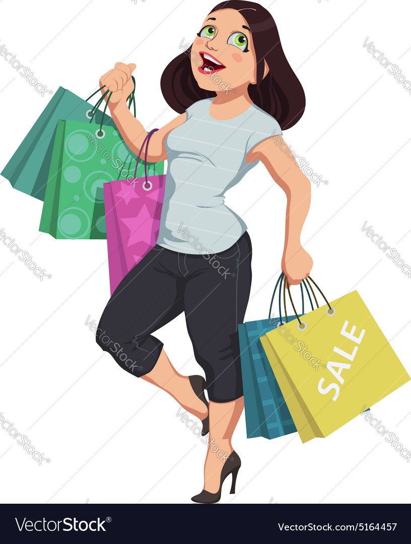 Cartoon shopping girl