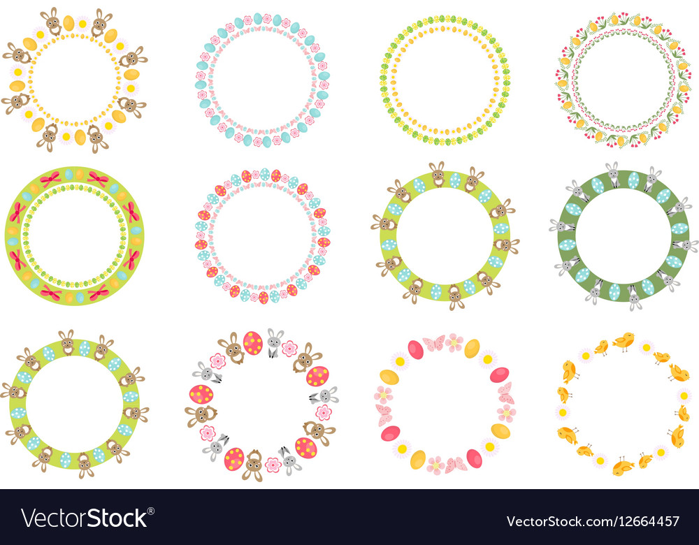 Easter round frame for your text set Isolated on