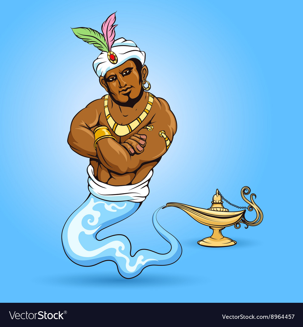 Genie coming out of aladdin lamp Royalty Free Vector Image for aladdin genie coming out of lamp  104xkb