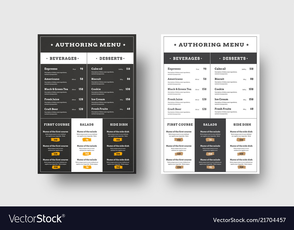 Template menu for cafes and restaurants blocks