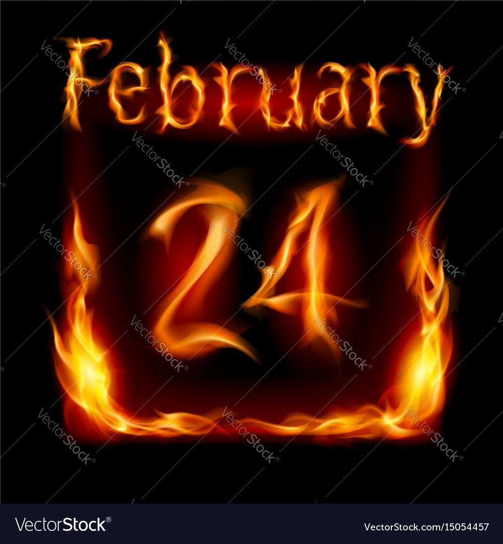 Twenty-fourth february in calendar of fire icon vector image