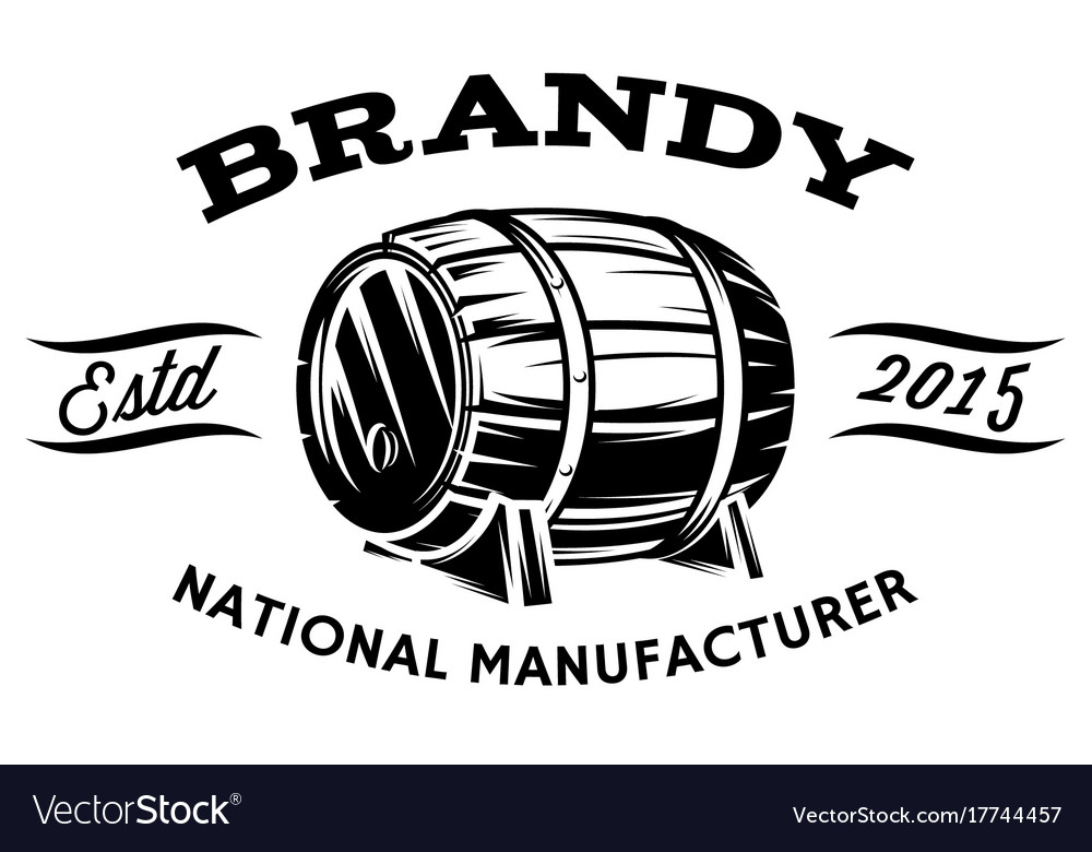 With wooden barrel for spirits vector image