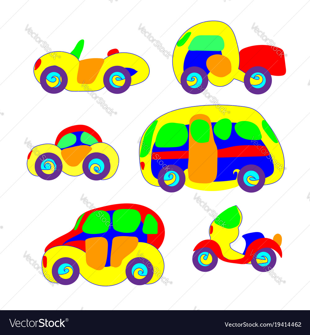 Cars in the toy style colorful and funny