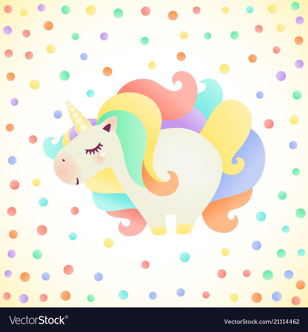 Cute cartoon unicorn character with colorful hair