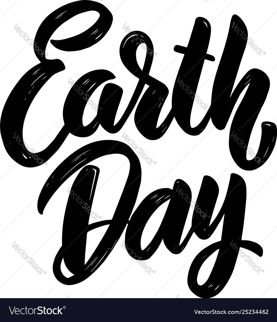Earth day lettering phrase for postcard banner