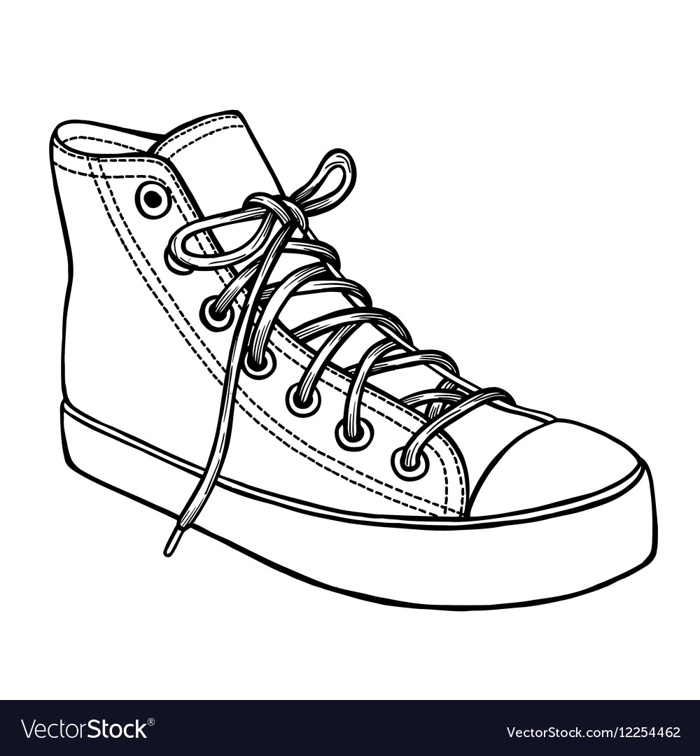 d6bf29879fd0 Hand drawn sketch of sport shoes Royalty Free Vector Image