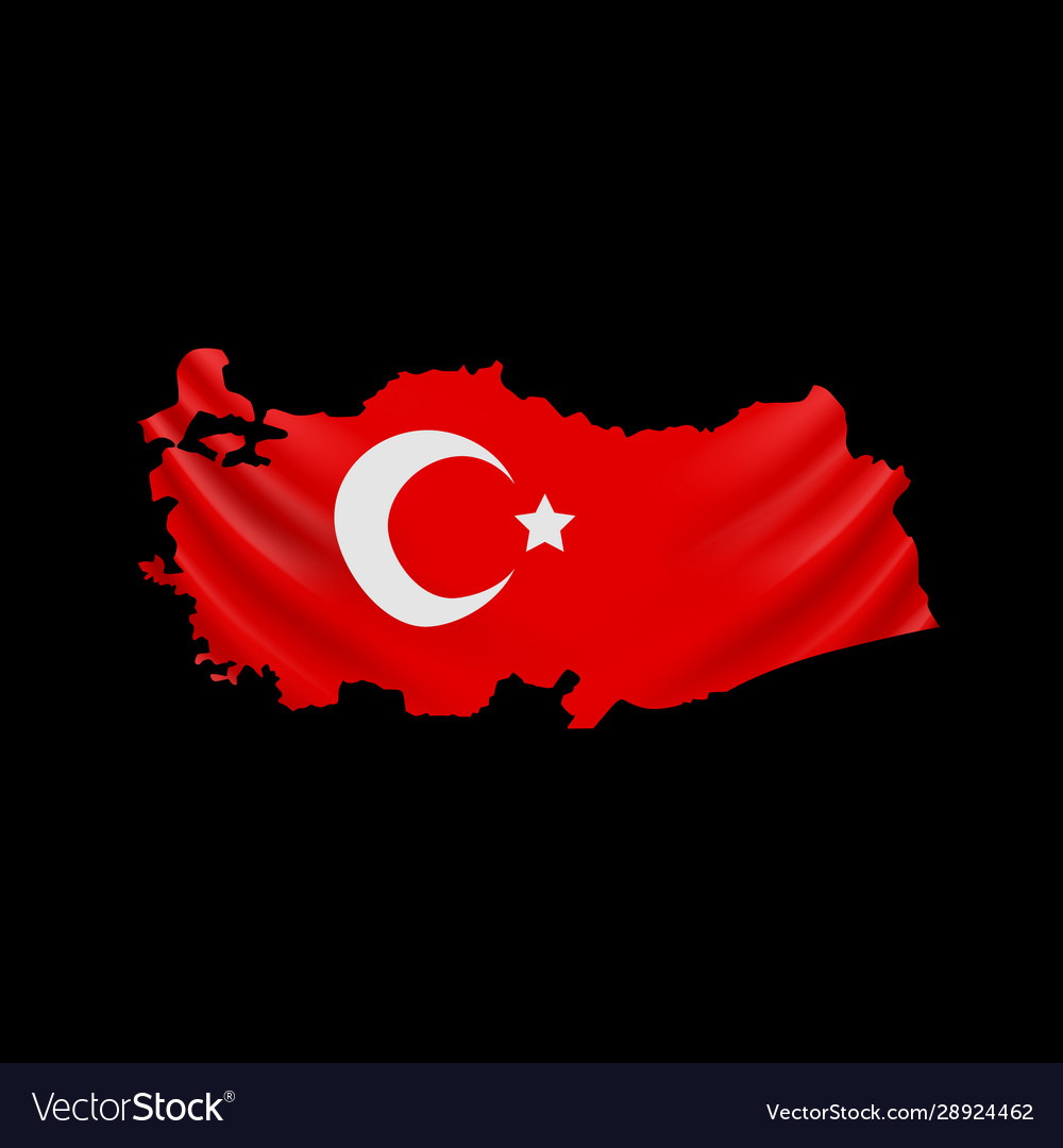 Hanging turkey flag in form map republic of