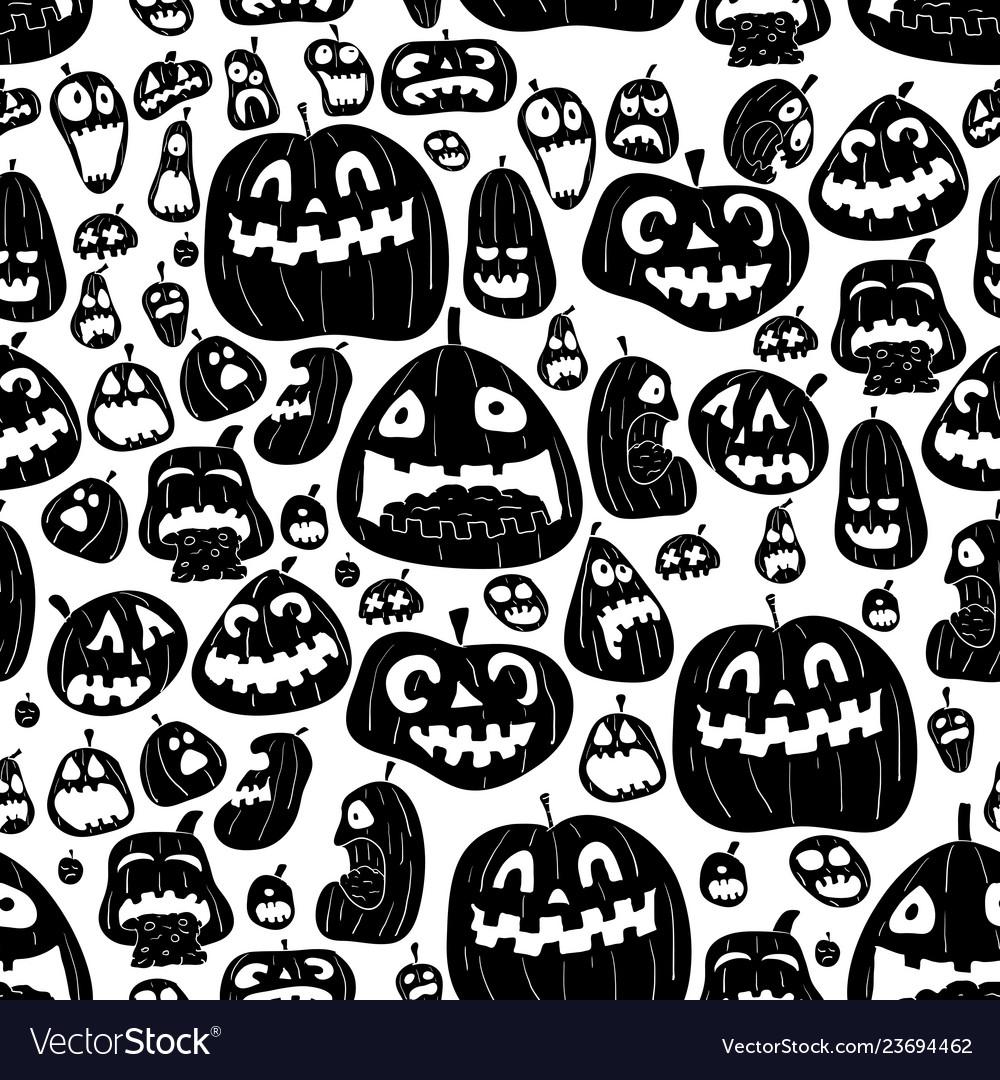 Monochrome halloween seamless design pattern