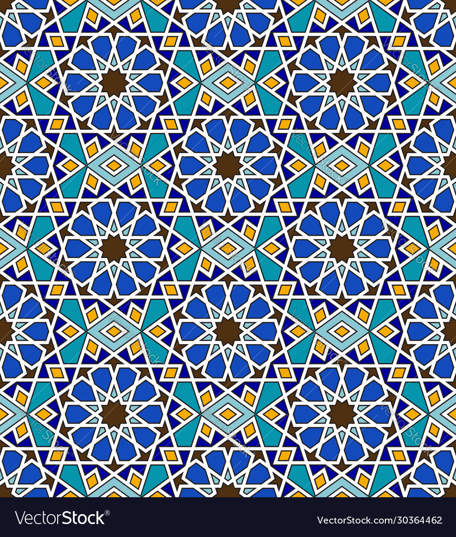 Mosaic arabic seamless pattern with geometric vector
