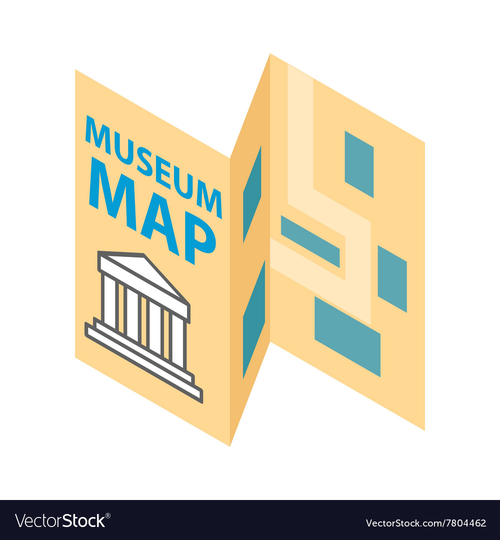Museum map icon isometric 3d style