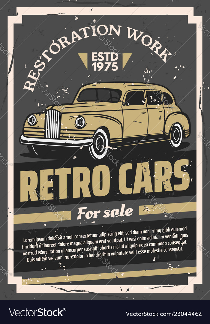Retro old cars for sale or restoration work poster