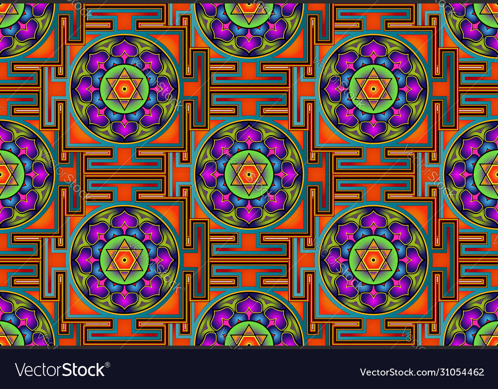 Seamless yantra background bagalamukhi mandala