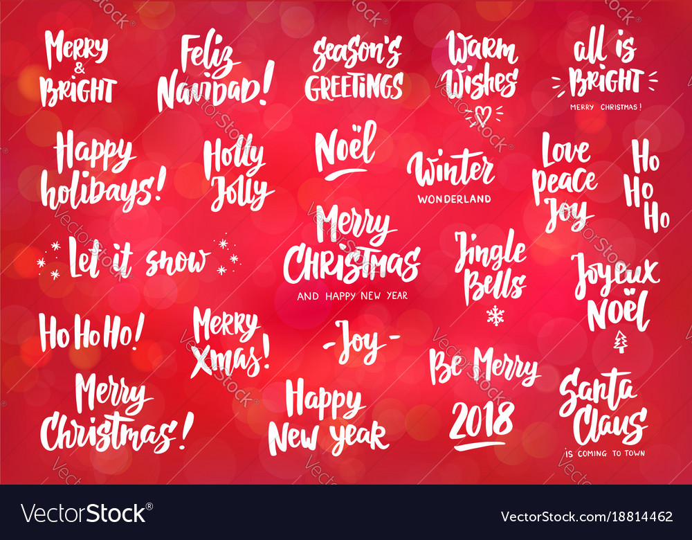 Set Of Holiday Greeting Quotes And Wishes Hand Vector Image Gorgeous Holiday Wishes Quotes