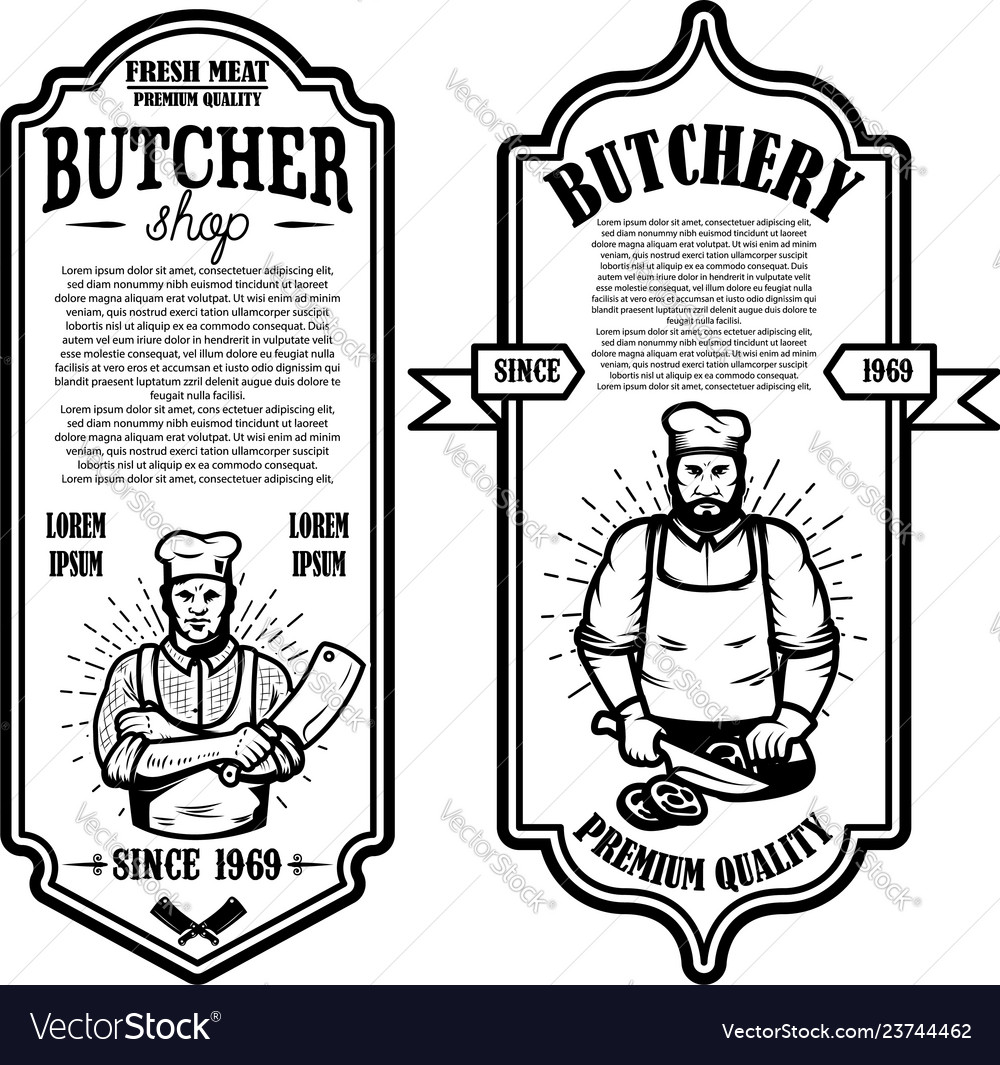 Set of vintage butchery and meat store flyers