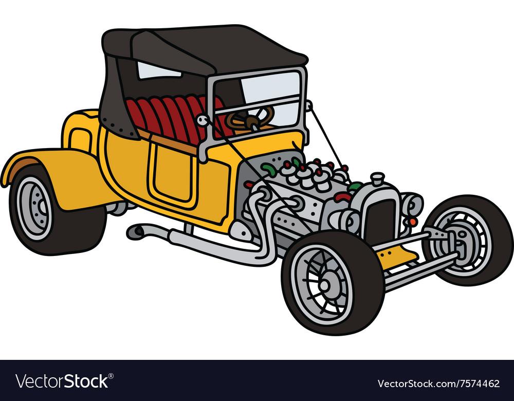 Yellow hot rod vector image