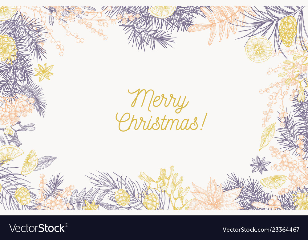 Card template with merry christmas inscription and