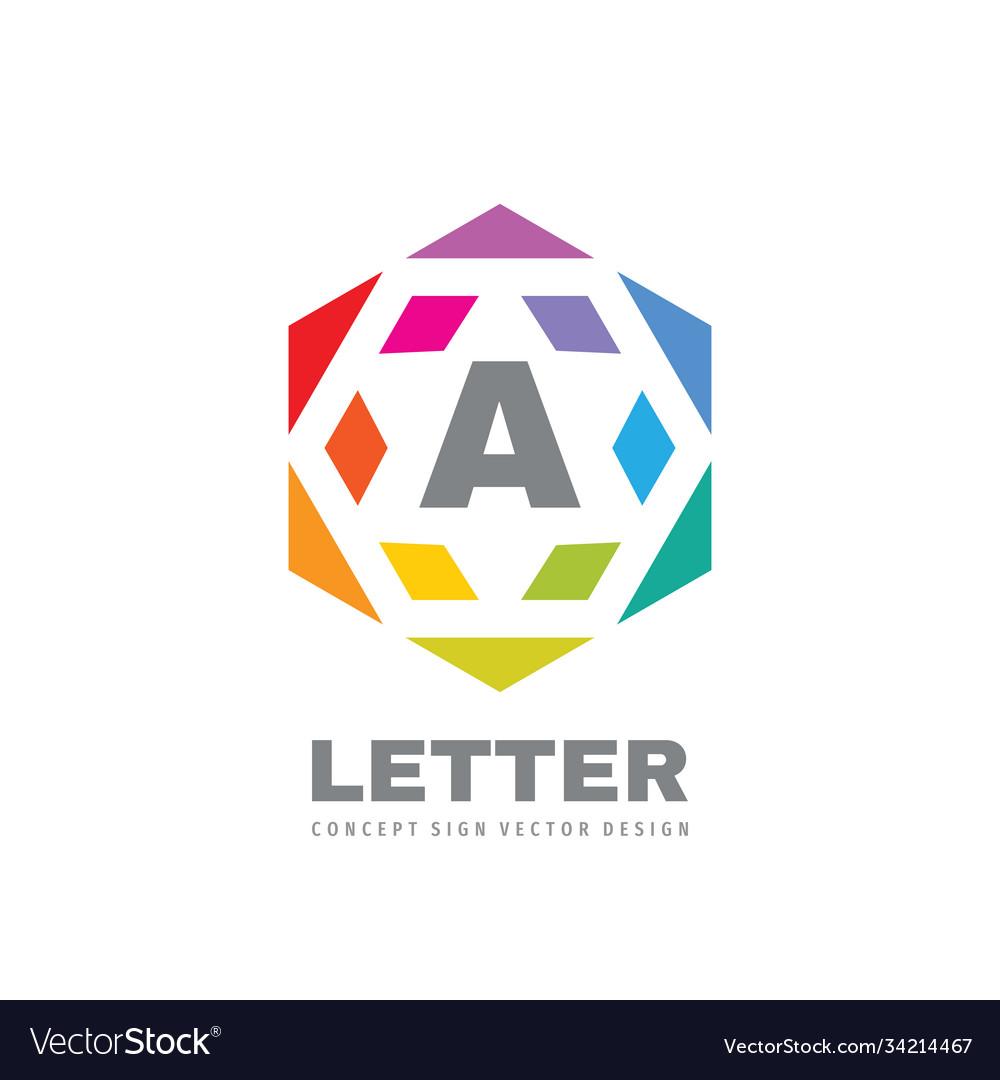 Logo design hexagon sign letter a creative symbol