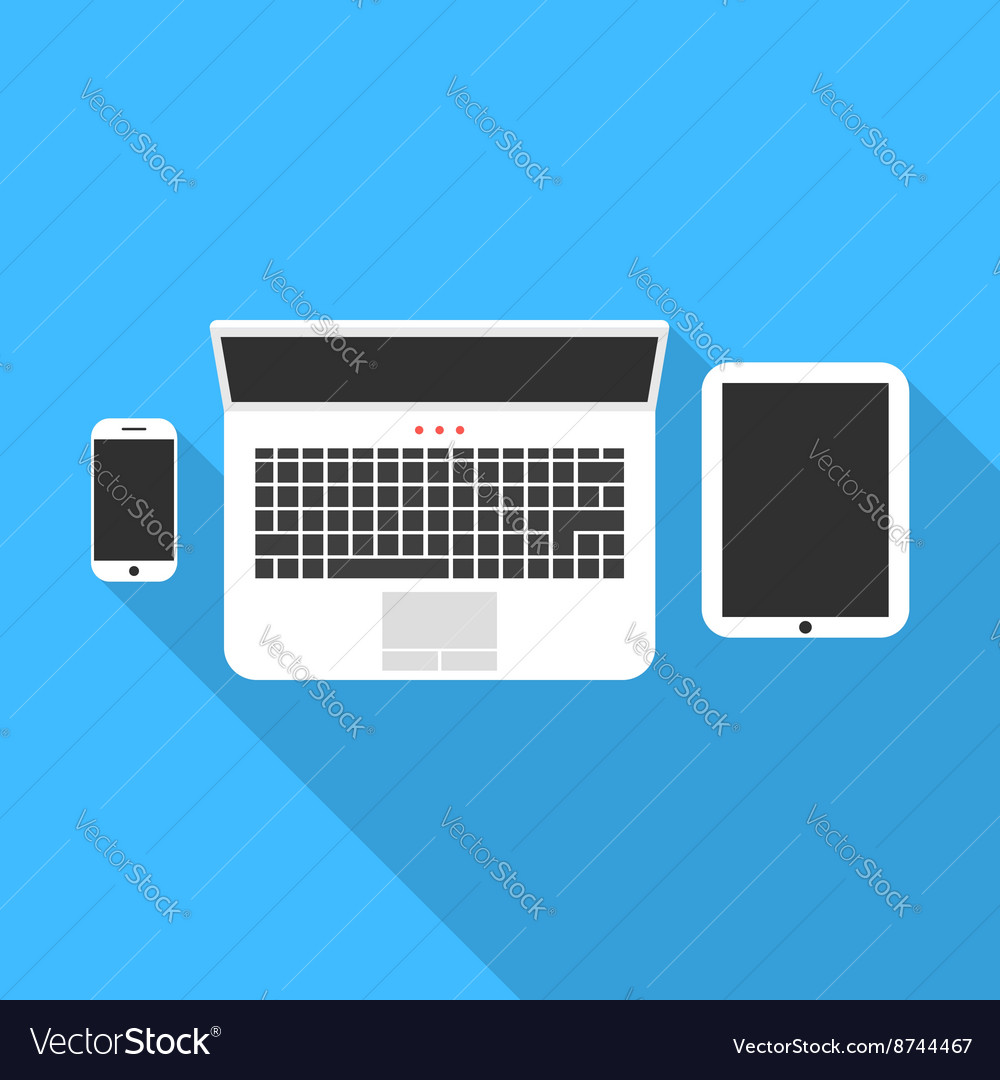 Phone notebook and tablet with long shadow