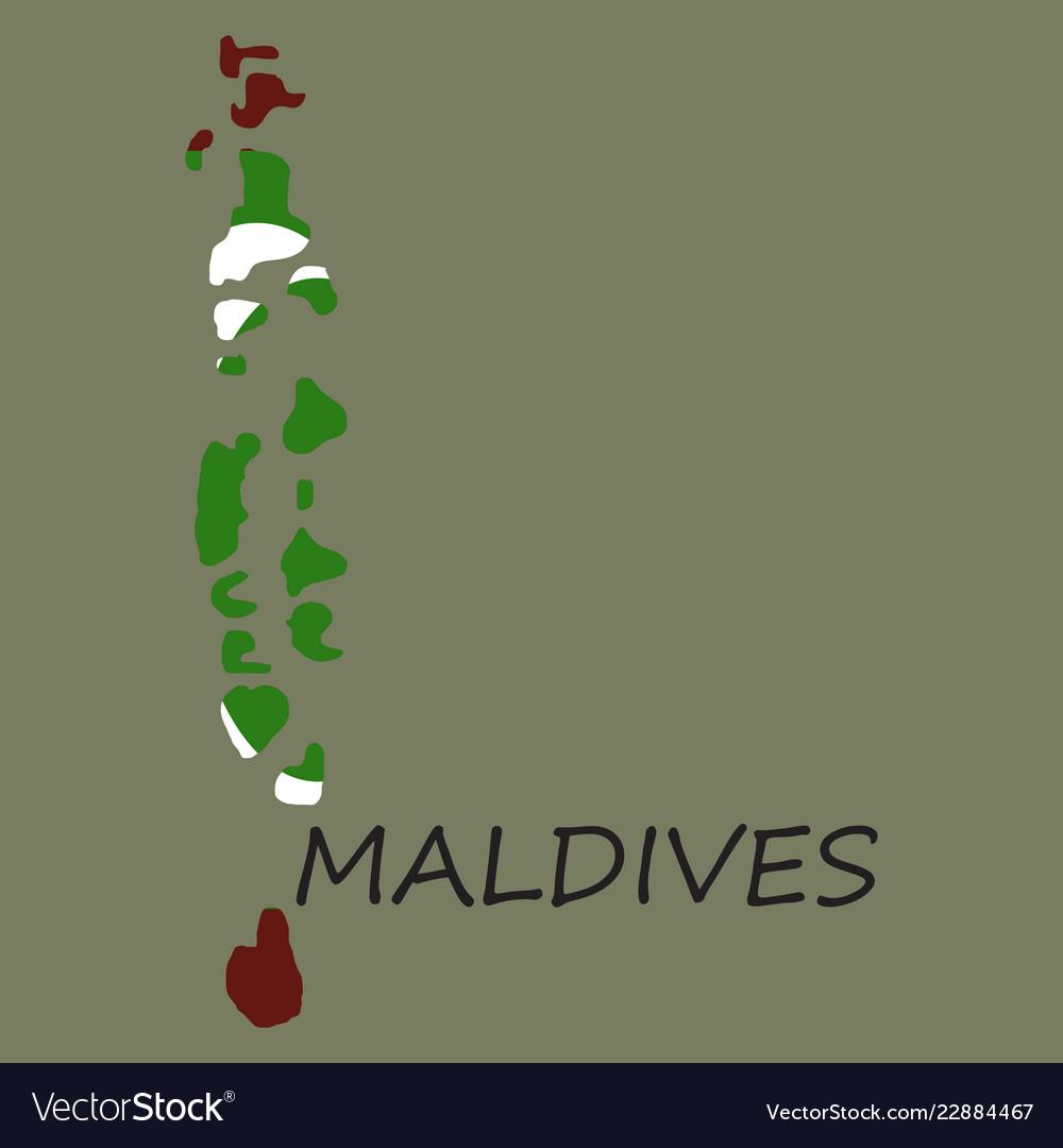 Maldives Asia Map.Republic Of Maldives Flag Asia World Map Vector Image