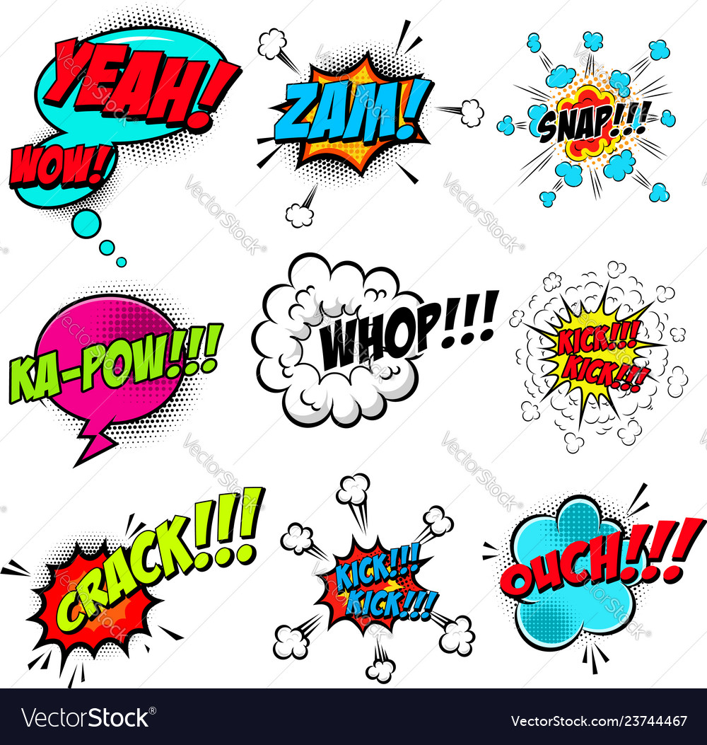 Set of comic style speech bubbles with sound text