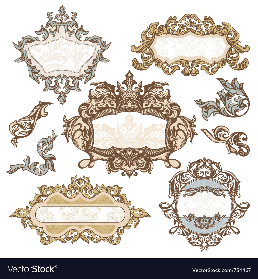 Set of royal vintage frames Royalty Free Vector Image