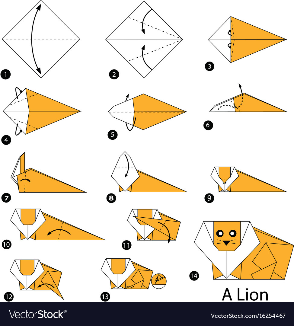 Step Instructions How To Make Origami A Lion Vector Image
