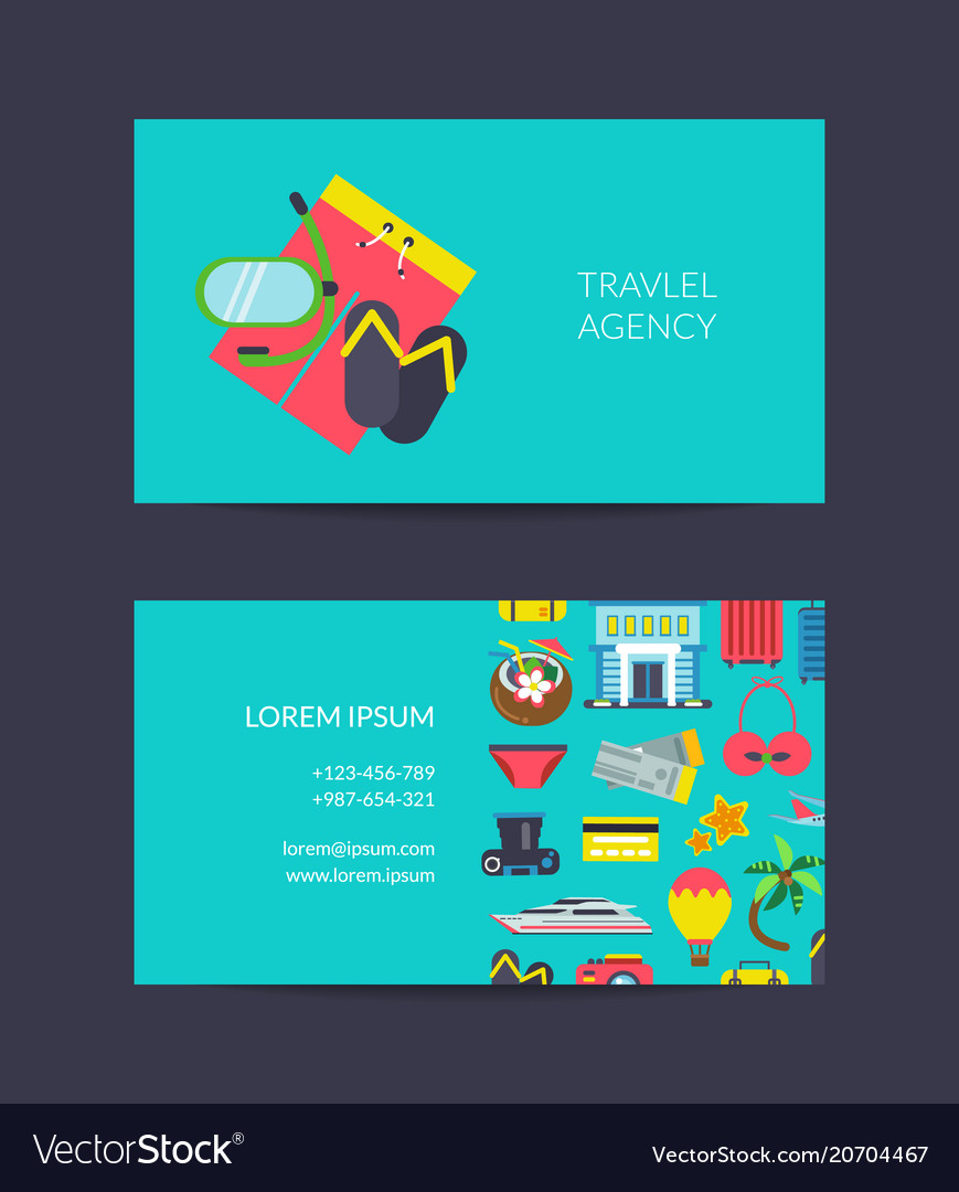 Travel business card template for travel vector image colourmoves
