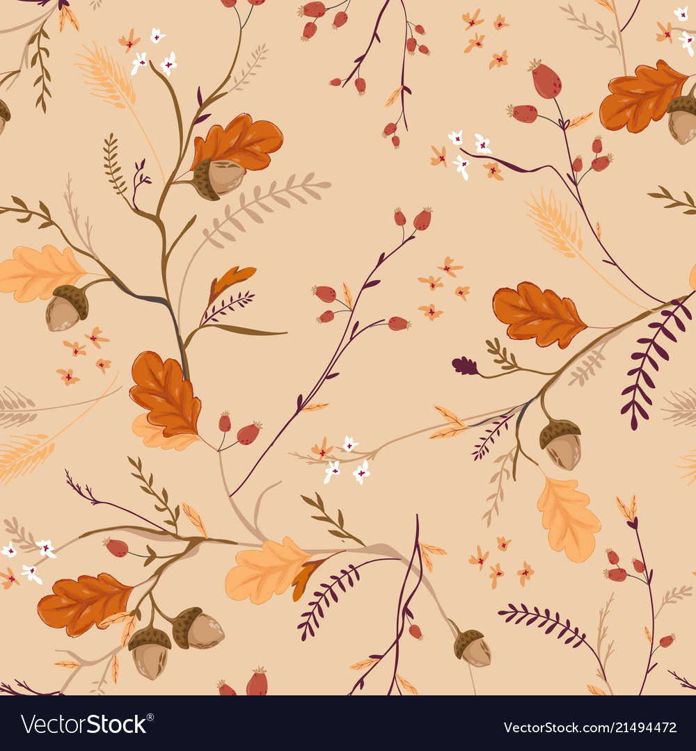 Autumn floral seamless pattern with acorns