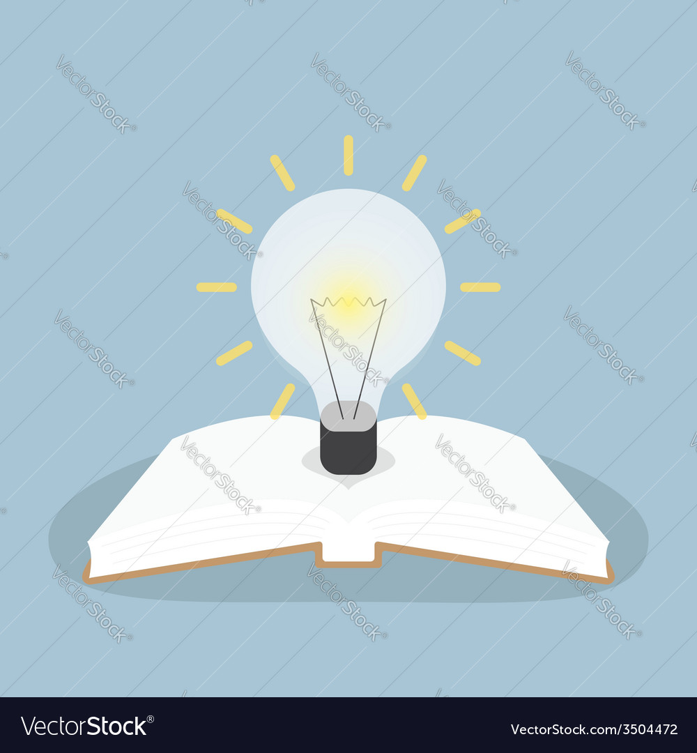 Book with light bulb vector image