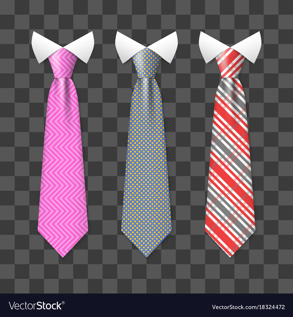 Colorful realistic neck ties set isolated on
